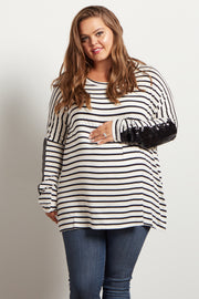 Black Striped Sequin Sleeve Maternity Plus Top