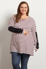 Burgundy Striped Sequin Sleeve Maternity Plus Top