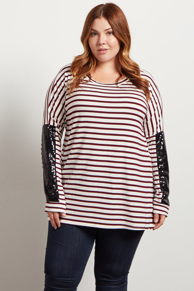 Burgundy Striped Sequin Sleeve Dolman Plus Top