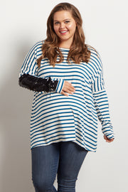 Teal Striped Sequin Sleeve Maternity Plus Top