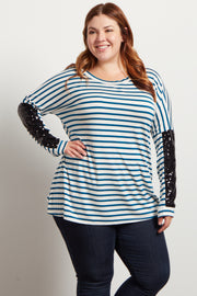 Teal Striped Sequin Sleeve Dolman Plus Top