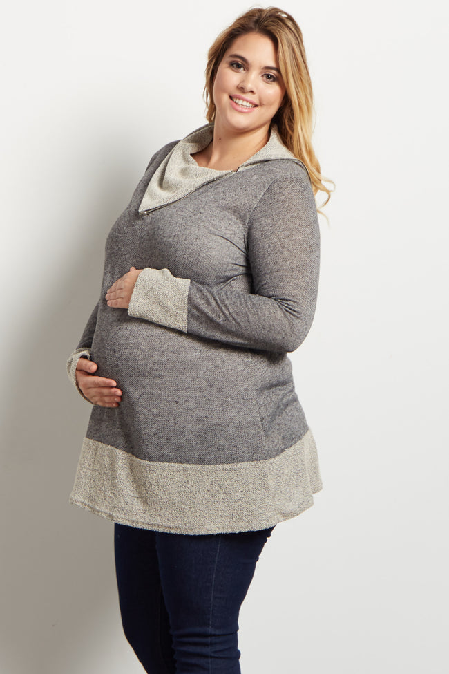 Black Cowl Neck Zipper Accent Knit Plus Maternity Sweater