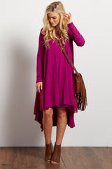 Magenta Chiffon Accent Hi-Low Dress