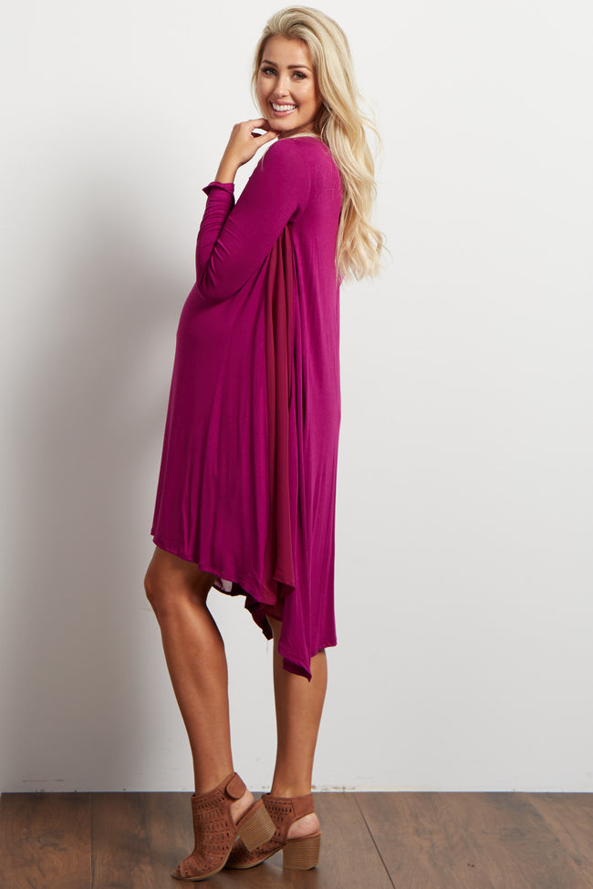 Magenta Chiffon Accent Hi-Low Maternity Dress