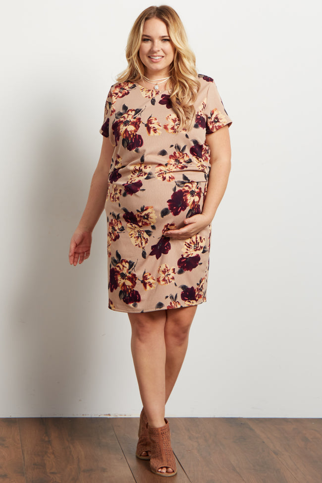 Taupe Floral Fitted Plus Maternity Dress