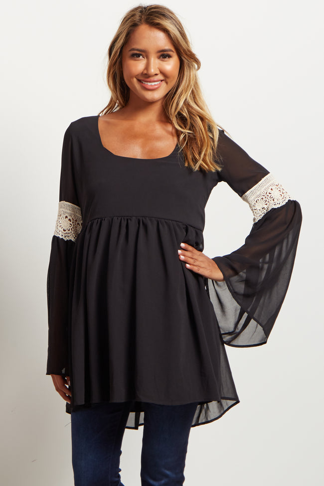 Black Chiffon Crochet Accent Bell Sleeve Babydoll Maternity Top