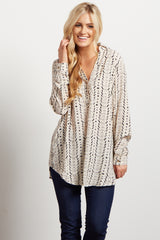 Ivory Abstract Print Button Up Blouse