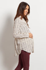 Ivory Abstract Button Up Maternity Blouse