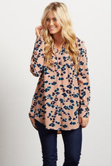 Mauve Abstract Print Button Up Blouse