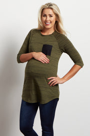 Olive Heathered Colorblock Pocket Maternity Top