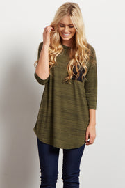 Olive Green Heathered Colorblock Pocket Top