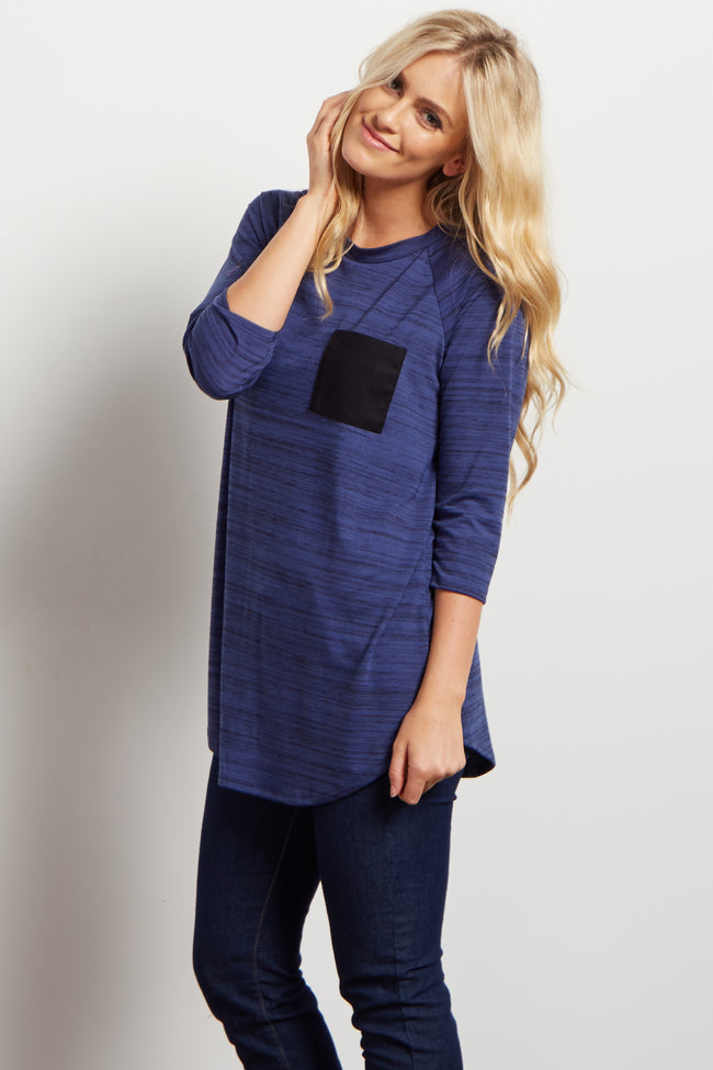 Blue Heathered Colorblock Pocket Maternity Top