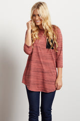 Mauve Heathered Colorblock Pocket Maternity Top