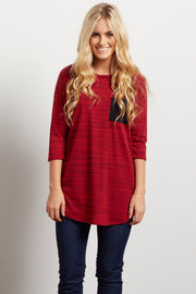 Burgundy Heathered Colorblock Pocket Top