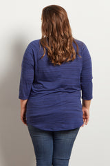 Blue Heathered Colorblock Pocket Maternity Plus Top