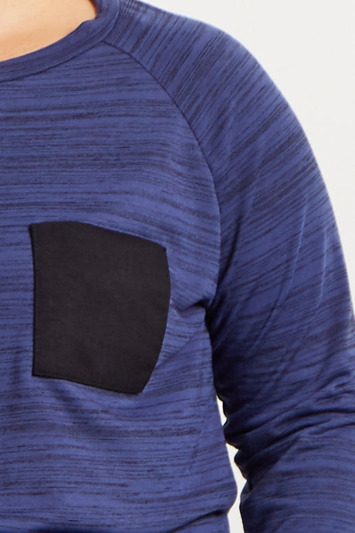 Blue Heathered Colorblock Pocket Plus Top