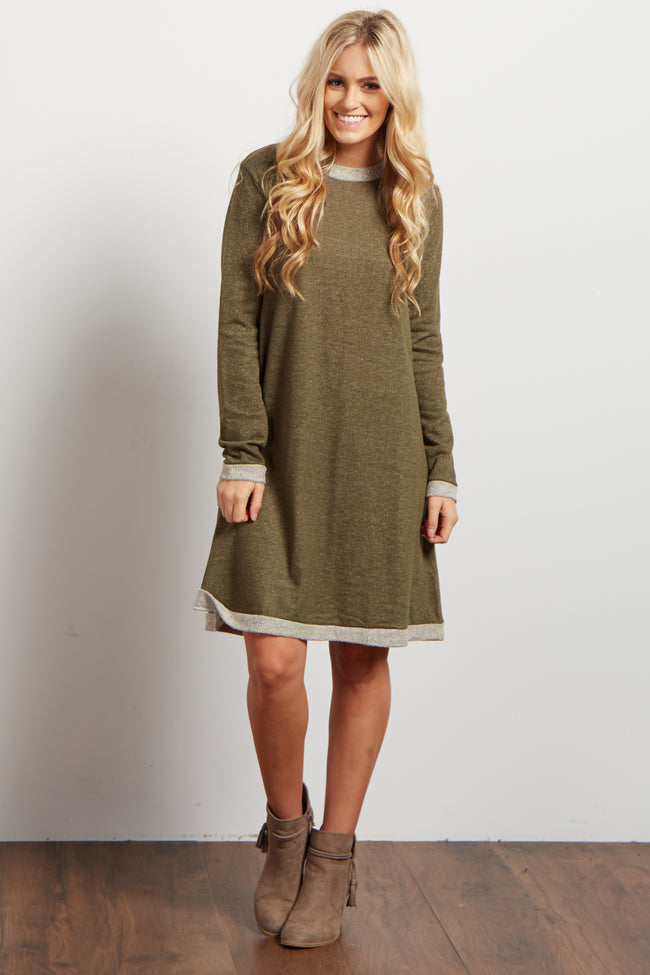 Olive Green Heathered Long Sleeve Knit Sweater Dress
