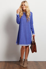 Blue Heathered Long Sleeve Maternity Sweater Dress