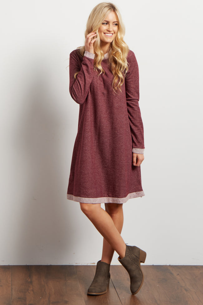 Burgundy Heathered Long Sleeve Knit Sweater Dress