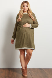 Olive Heathered Long Sleeve Plus Maternity Sweater Dress