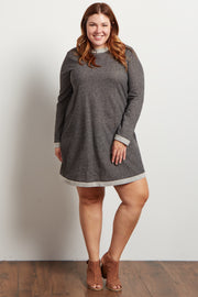 Charcoal Heathered Long Sleeve Knit Plus Sweater Dress