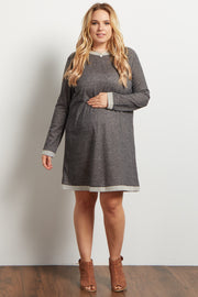 Charcoal Heathered Long Sleeve Plus Maternity Sweater Dress