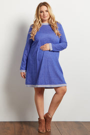 Blue Heathered Long Sleeve Plus Maternity Sweater Dress