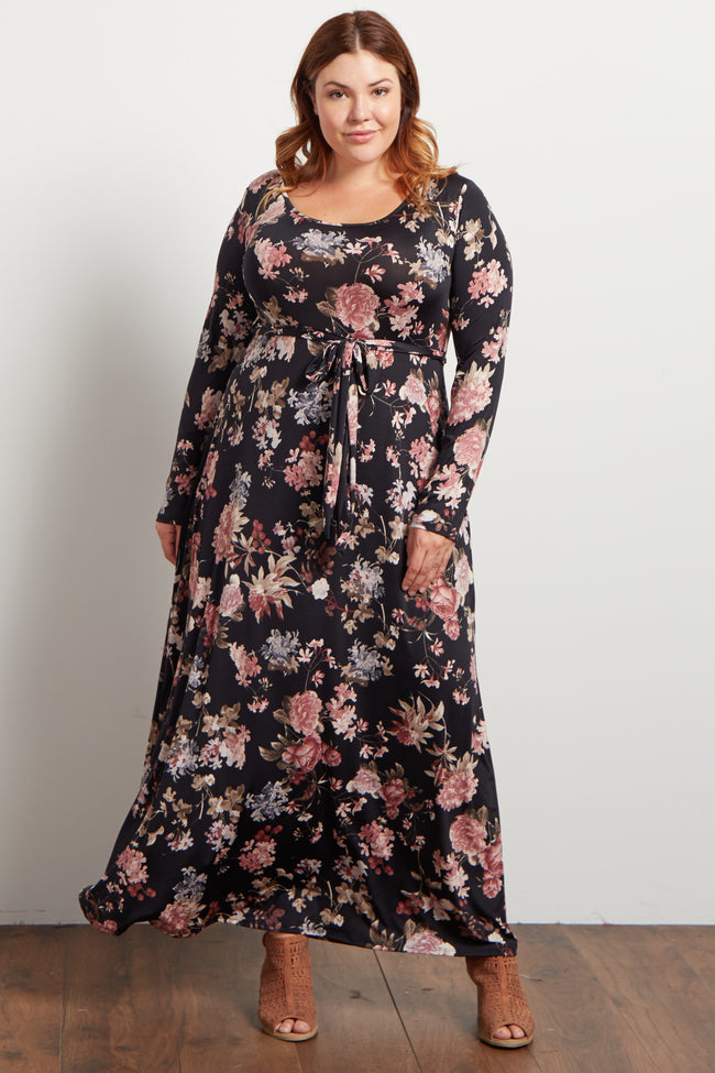 Black Floral Print Sash Tie Plus Size Maxi Dress