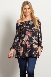 Black Floral Off Shoulder Maternity Top