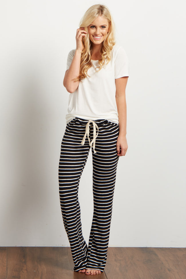 Black Striped Soft Knit Drawstring Pajama Pants