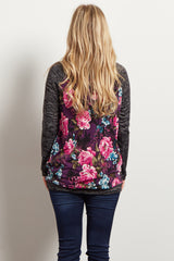 Black Colorblock Floral Knit Sleeve Maternity Top