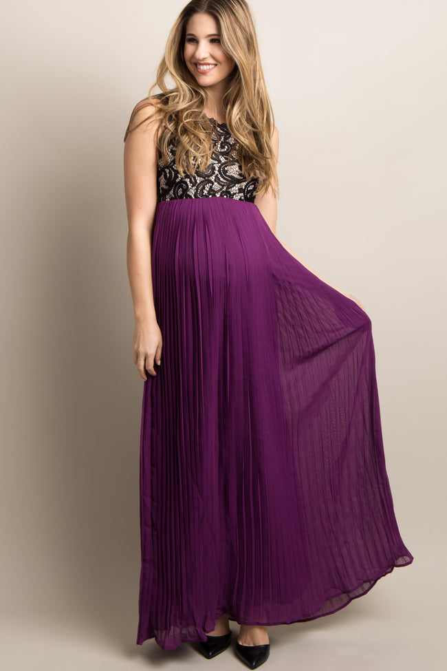 Purple Pleated Chiffon Lace Maternity Maxi Dress