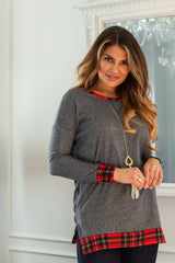 Charcoal Red Plaid Hemline Accent Knit Sweater