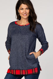 Navy Blue Red Plaid Hemline Accent Knit Sweater