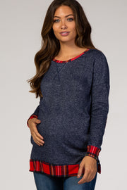 Navy Blue Red Plaid Hemline Accent Knit Maternity Sweater