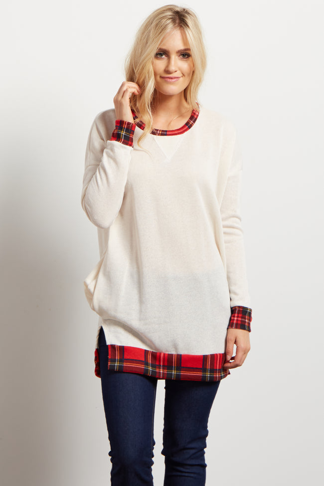 Ivory Red Plaid Hemline Accent Knit Sweater