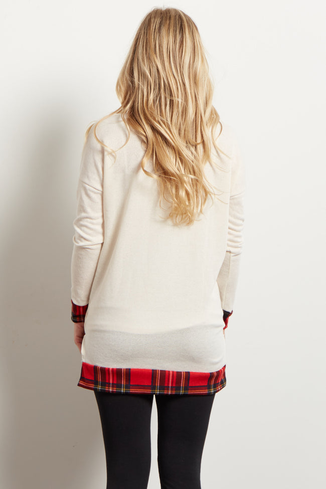 Ivory Red Plaid Hemline Accent Maternity Sweater