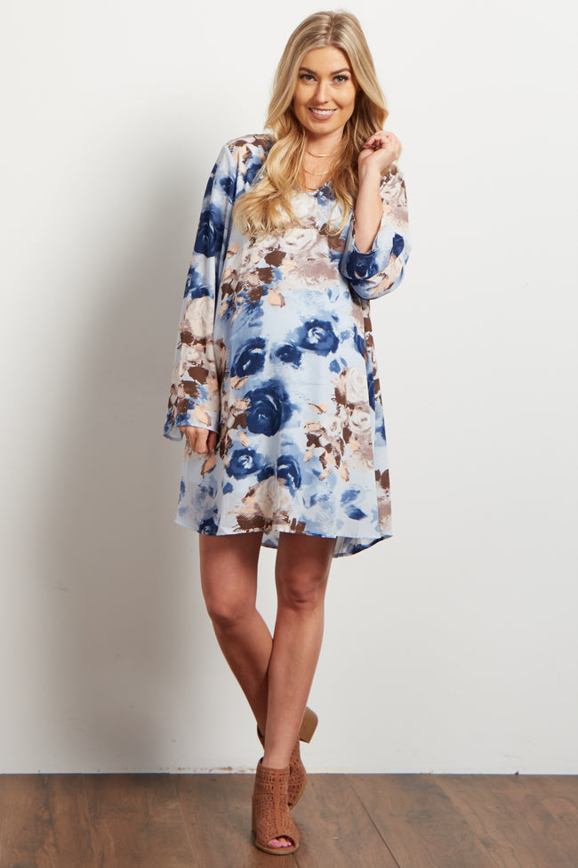 Light Blue Rose Chiffon Maternity Dress