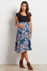 Teal Floral Flowy Maternity Skirt