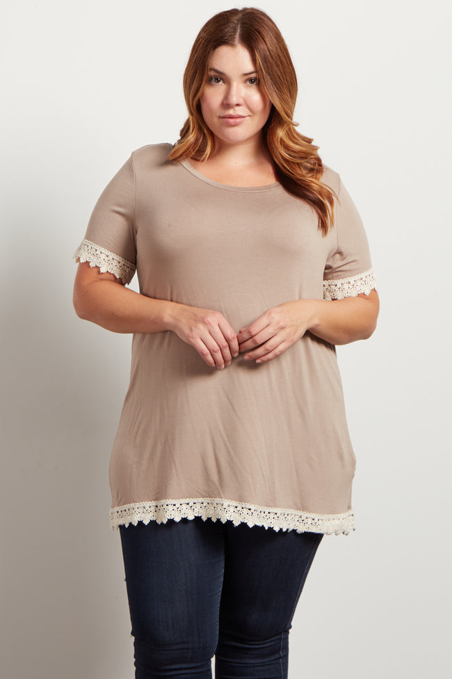 Taupe Solid Crochet Trim Short Sleeve Plus Size Top