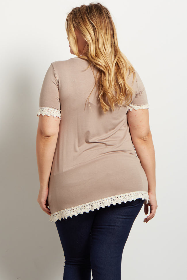 Taupe Solid Crochet Trim Plus Maternity Top