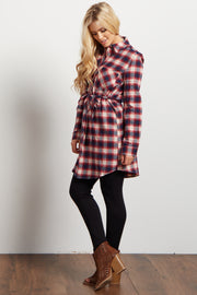 Red Plaid Flannel Button Up Sash Tie Top
