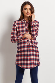 Red Plaid Flannel Button Up Sash Tie Maternity Top