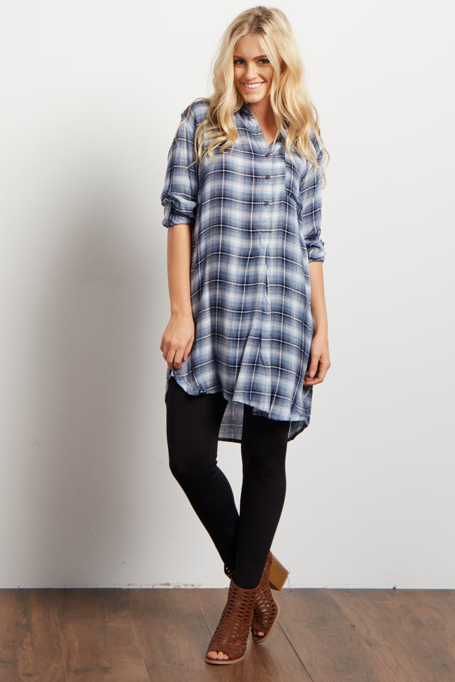 Blue Plaid Flannel Button Up Neckline Tunic