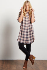 Pink Plaid Flannel Button Up Neckline Tunic