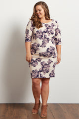 Purple Rose Printed Fitted Plus Maternity Dress