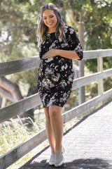 Black Floral Printed Fitted Maternity Plus Dress