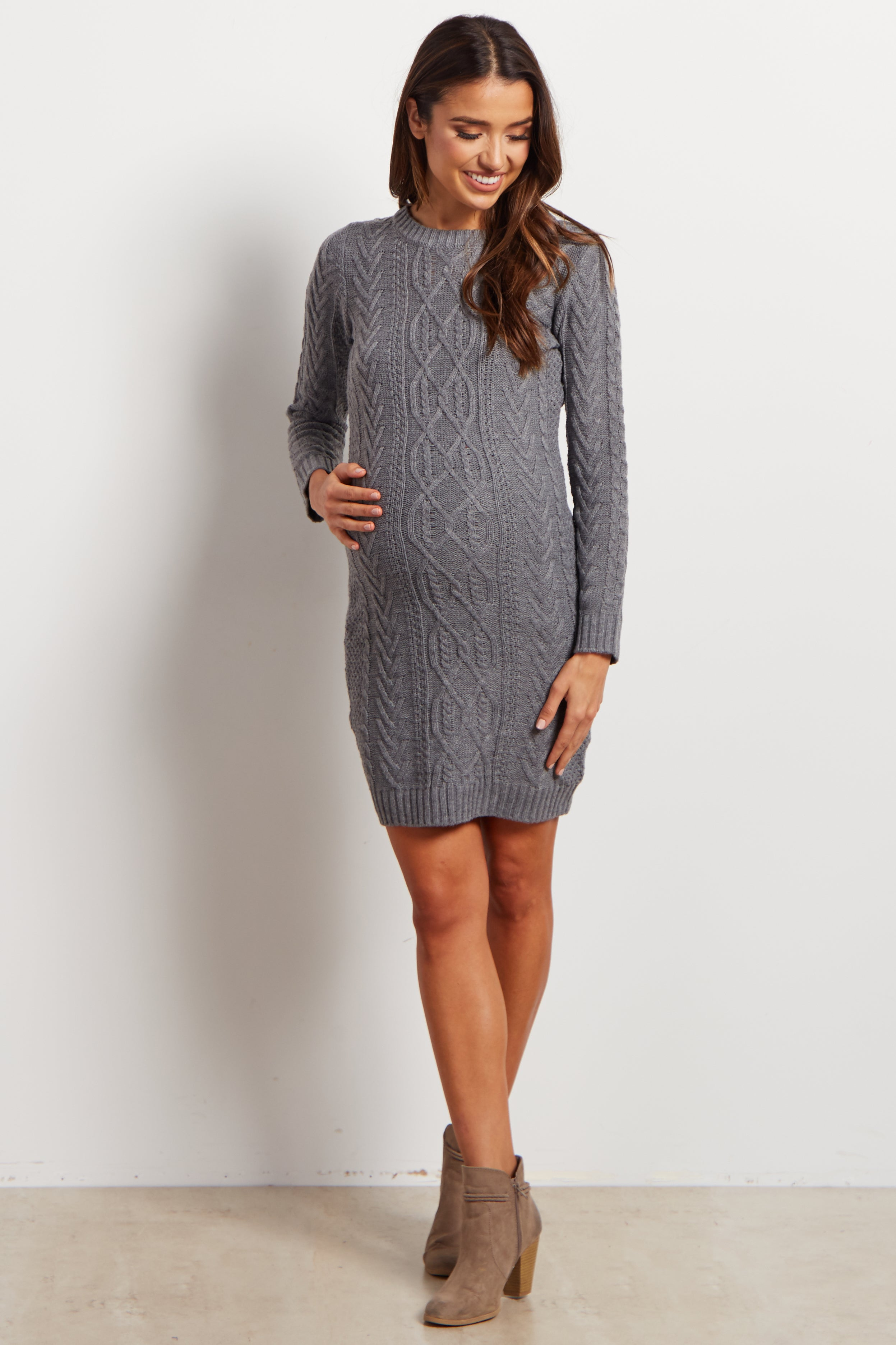 Grey Cable Knit Long Sleeve Maternity Sweater Dress