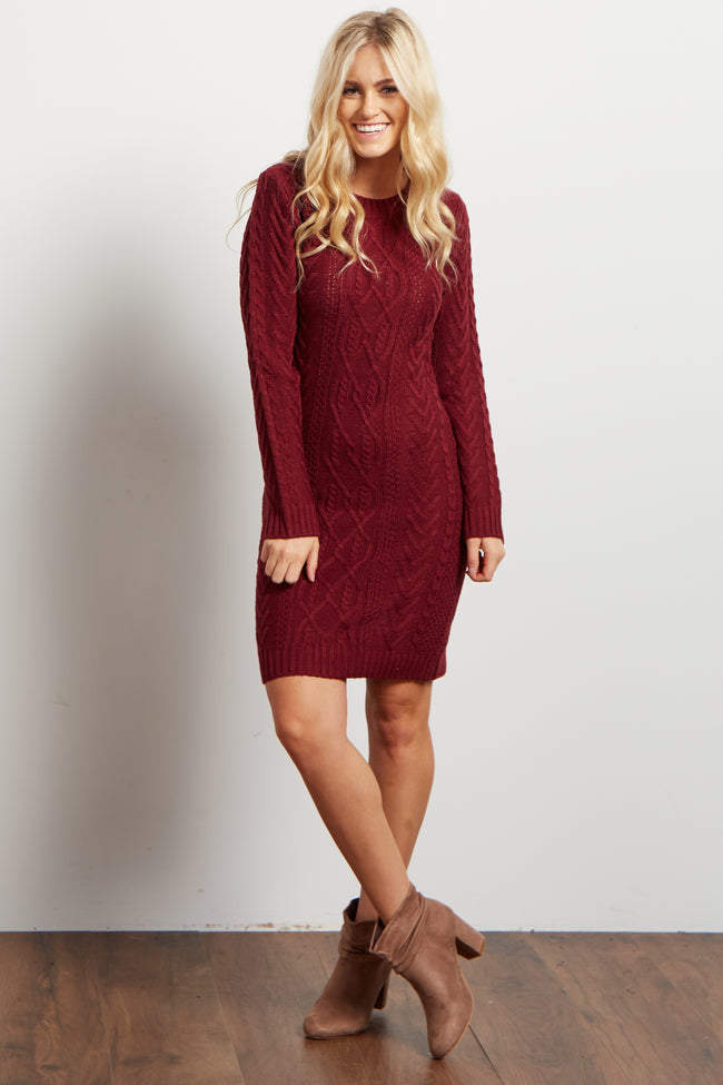 Burgundy Cable Knit Long Sleeve Maternity Sweater Dress