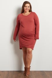Rust Long Sleeve Side Ruched Maternity Plus Dress
